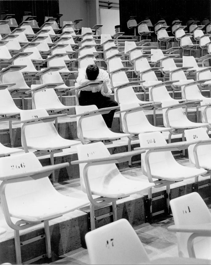 85-78 Photo 1 Student Asleep In Empty Lecture Hall